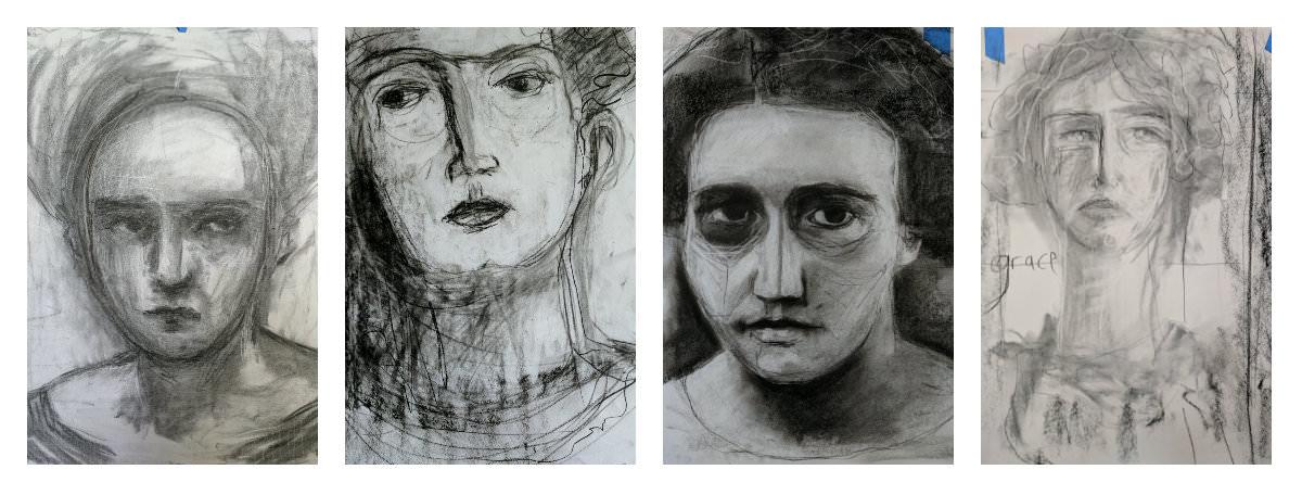 Gillian Lee Smith - Charcoal drawings by Angela Kennedy, Joan Tucker, Kara Strachan Bullock and Heather Laidlaw