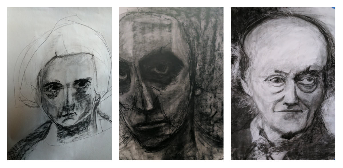 Gillian Lee Smith - Charcoal drawings by Kathie Vezzani, Joanne Desmond and Carol MacConnell