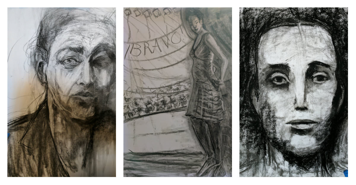 Gillian Lee Smith - Charcoal drawings by Ivy Newport, Sharon Jonquil and Chrissie England