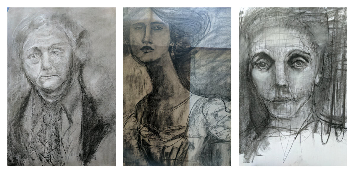 Gillian Lee Smith - Charcoal drawings by Kathy Sandler, Kristina Solheim and Erin Santen