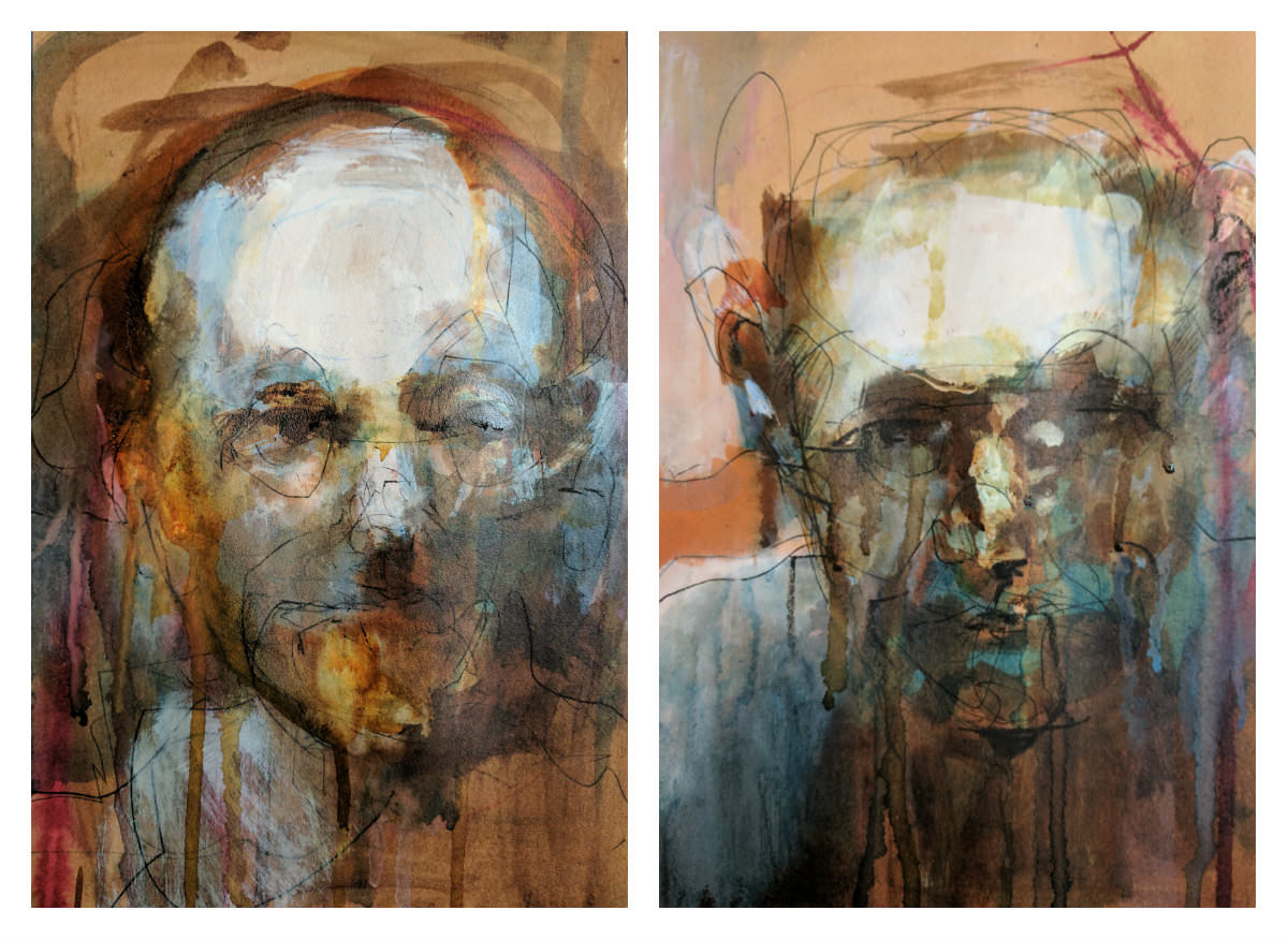 Gillian Lee Smith - My ink portrait demos - started in class and finished one evening
