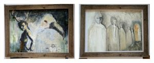 More in progress pieces checked with a frame around them. Artwork by Katie O'Sullivan and JenEve Slater